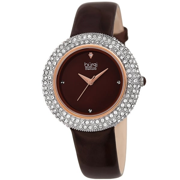 Burgi Ladies Diamond Swarovski Crystal Sparkling Brown Leather Strap Watch. Opens flyout.
