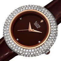 Burgi Ladies Diamond Swarovski Crystal Sparkling Brown Leather Strap Watch