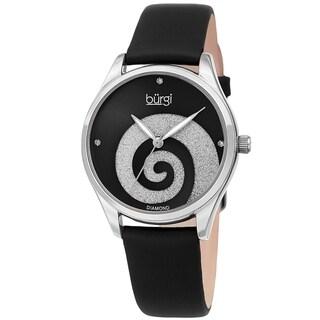 Burgi Ladies Diamond Swarovski Crystal Swirl Black Satin Strap Watch