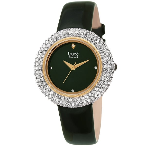 Burgi Ladies Diamond Swarovski Crystal Sparkling Green Leather Strap Watch. Opens flyout.