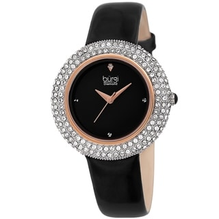 Link to Burgi Ladies Diamond Swarovski Crystal Sparkling Black Leather Strap Watch Similar Items in Women's Watches