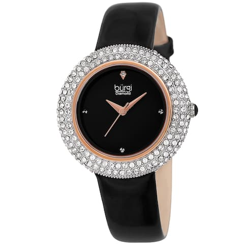 Burgi Ladies Diamond Swarovski Crystal Sparkling Black Leather Strap Watch