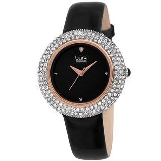 Burgi Ladies Diamond Swarovski Crystal Sparkling Black Leather Strap Watch