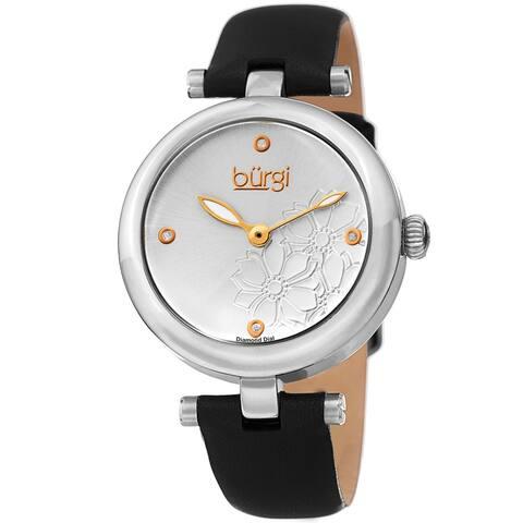 Burgi Ladies Diamond Floral Barbell Black Leather Strap Watch