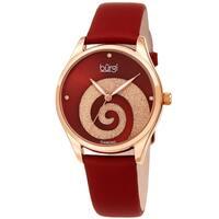 Burgi Ladies Diamond Swarovski Crystal Swirl Red Satin Strap Watch with FREE Bangle