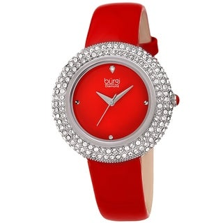 Link to Burgi Ladies Diamond Swarovski Crystal Sparkling Red Leather Strap Watch Similar Items in Women's Watches