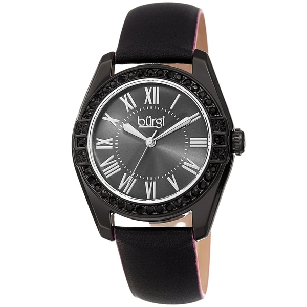 Burgi Ladies Swarovski Crystal Sunray Dial Black Leather Strap Watch. Opens flyout.