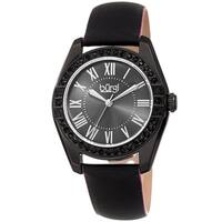 Burgi Ladies Swarovski Crystal Sunray Dial Black Leather Strap Watch with FREE Bangle