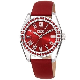 Burgi Ladies Swarovski Crystal Sunray Dial Red Leather Strap Watch