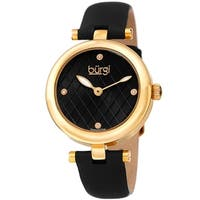 Burgi Ladies Diamond Patterned Barbell Black Leather Strap Watch