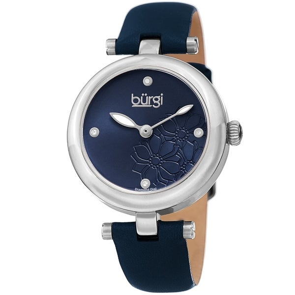 Burgi Ladies Diamond Floral Barbell Blue Leather Strap Watch. Opens flyout.