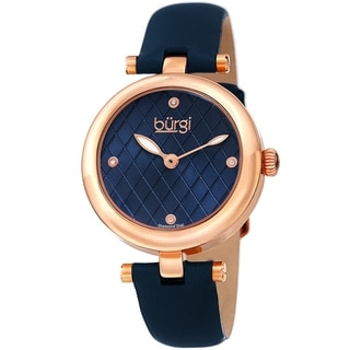 Burgi Ladies Diamond Patterned Barbell Blue Leather Strap Watch