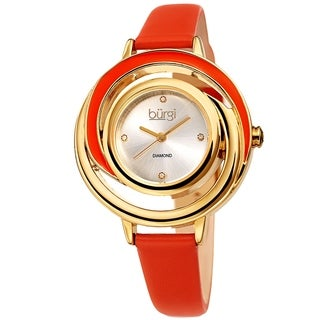 Burgi Ladies Floating Diamond Dial Orange Thin Leather Strap Watch
