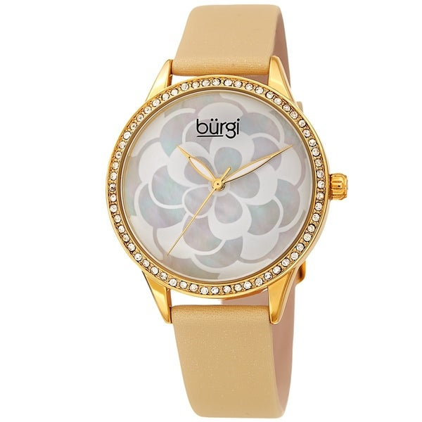 Burgi Ladies Swarovski Crystal Mother of Pearl Floral Cream Leather Strap Watch. Opens flyout.