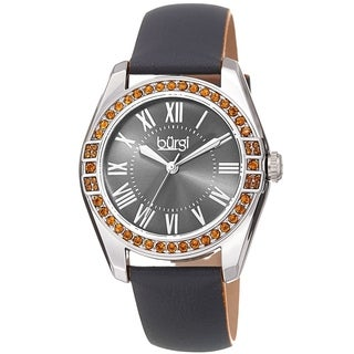 Burgi Ladies Swarovski Crystal Sunray Dial Grey Leather Strap Watch