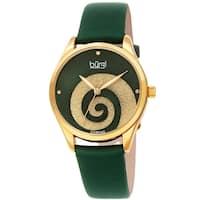 Burgi Ladies Diamond Swarovski Crystal Swirl Green Satin Strap Watch