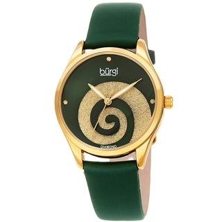 Burgi Ladies Diamond Swarovski Crystal Swirl Green Satin Strap Watch with FREE Bangle