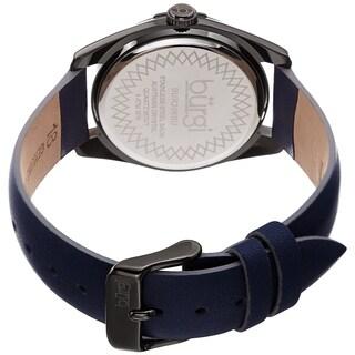 Burgi Ladies Swarovski Crystal Sunray Dial Blue Leather Strap Watch