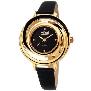 Burgi Ladies Floating Diamond Dial Black Thin Leather Strap Watch