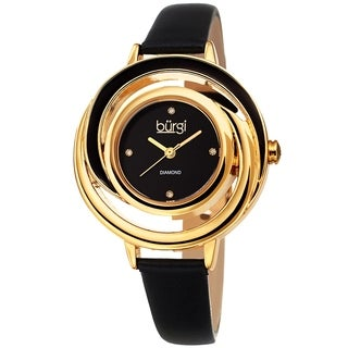 Burgi Ladies Floating Diamond Dial Black Thin Leather Strap Watch with FREE Bangle