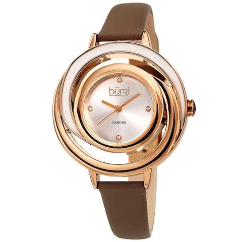 Burgi Ladies Floating Diamond Dial Brown Thin Leather Strap Watch