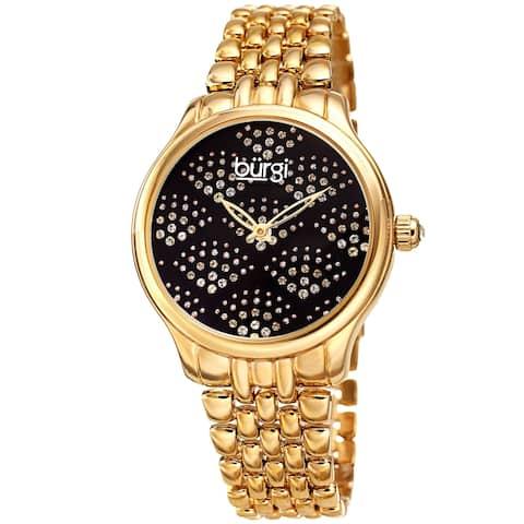 53ca32195e08 Burgi Ladies Swarovski Crystal Pebble Style Gold-tone Bracelet Watch