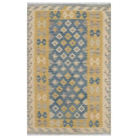 Handmade One-of-a-Kind Wool Kilim (Afghanistan) - 3'1 x 4'10