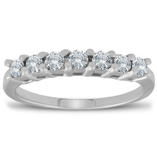 Pompeii3 14k White Gold 1 2 Ct TDW Diamond 7 Stone Wedding Ring Womens Anniversary Band