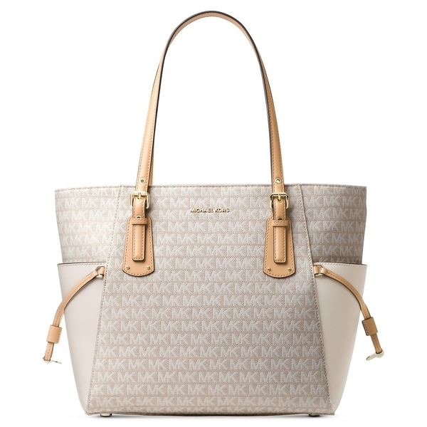 29d122f5ff Shop MICHAEL Michael Kors Voyager East West Tote Natural Light Cream Gold -  Free Shipping Today - Overstock - 22161712