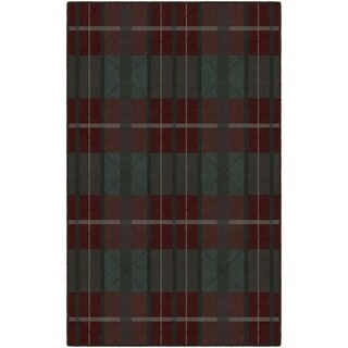 Brumlow Mills Burgundy/Green Nylon Traditional Plaid Area Rug - 7'6 x 10'