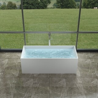 "66""Polystone Rectangular Free Standing Bathtub in Glossy or Matte White Finish-No Faucet"