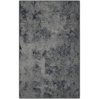 Brumlow Mills Vintage Damask Distressed Grey and Blue Nylon Area Rug - 5' x 8'