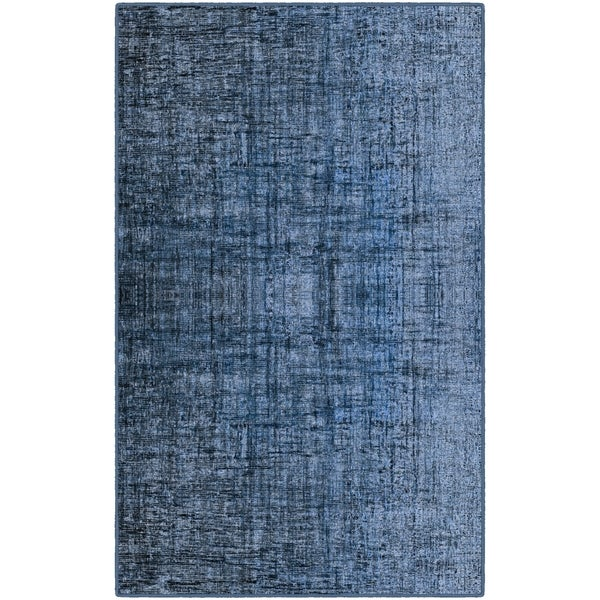 Brumlow Mills Blue Linen Contemporary Crosshatch Area Rug - 5' x 8'