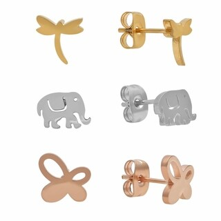 Piatella Ladies Set of 3 Stainless Steel Elephant, Gold Tone Dragonfly, and Rose Gold Tone Butterfly Stud Earrings