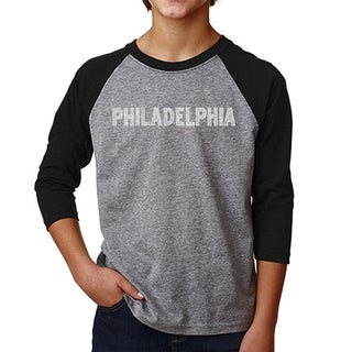 LA Pop Art Boy's Raglan Baseball Word Art T-shirt - PHILADELPHIA NEIGHBORHOODS