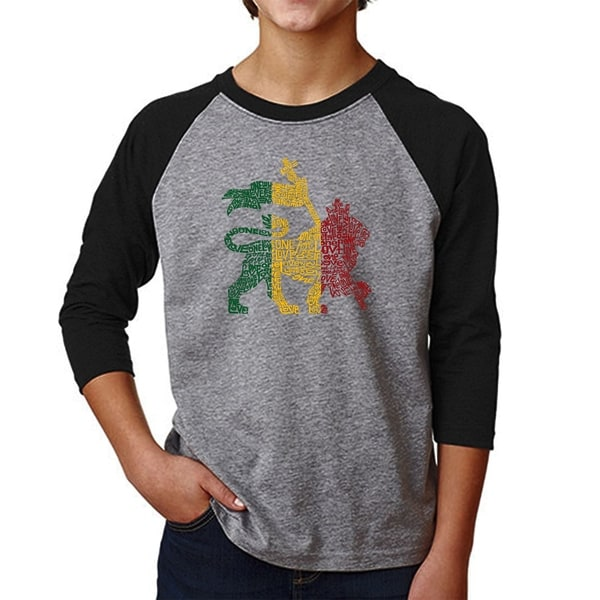 LA Pop Art Boy's Raglan Baseball Word Art T-shirt - Rasta Lion - One Love