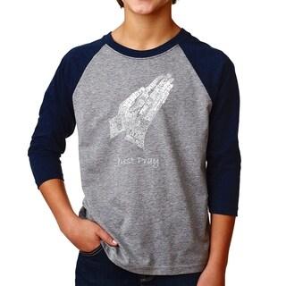 LA Pop Art Boy's Raglan Baseball Word Art T-shirt - Prayer Hands