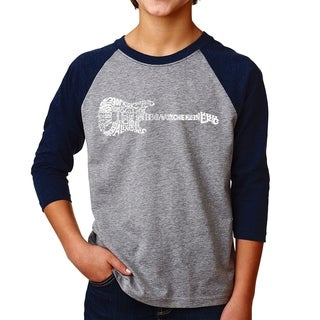 LA Pop Art Boy's Raglan Baseball Word Art T-shirt - Rock Guitar