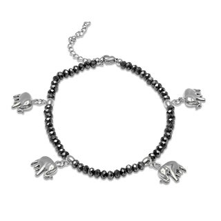 Piatella Ladies Black Hematite Beaded Stainless Steel Elephant Charm Anklet in 2 Colors (2 options available)