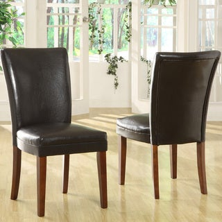 TRIBECCA HOME Kensington Bicast Leather Parson Dining Chairs (Set of 2)