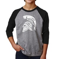 LA Pop Art Boy's Raglan Baseball Word Art T-shirt - SPARTAN
