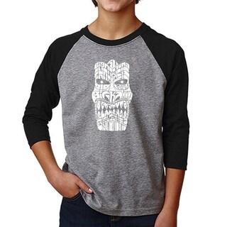 LA Pop Art Boy's Raglan Baseball Word Art T-shirt - TIKI - BIG KAHUNA