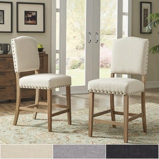 Benchwright Premium Nailhead Upholstered Counter Height Chairs (Set of 2) by iNSPIRE Q Artisan