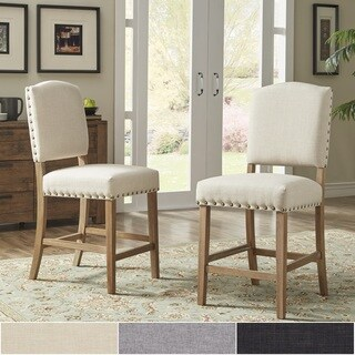 Benchwright Premium Nailhead Upholstered Counter Height Chairs (Set of 2) by iNSPIRE Q Artisan (3 options available)