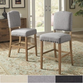 Benchwright Premium Nailhead Upholstered Bar Height Chairs (Set of 2) by iNSPIRE Q Artisan