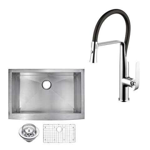 """Stainless Steel Apron Front 36"""" Single Bowl Kitchen Sink/Faucet Kit"""