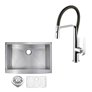 "Stainless Steel Apron Front 36"" Single Bowl Kitchen Sink/Faucet Kit"