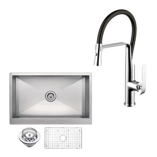 "Stainless Steel Apron Front 33"" Single Bowl Kitchen Sink/Faucet Kit"