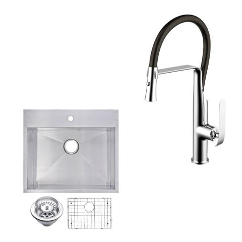 "Stainless Steel Drop In 25"" Single Bowl Kitchen Sink/Faucet Kit"