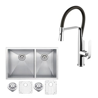 "Stainless Steel Under Mount 33"" Double Bowl Kitchen Sink/Faucet Kit"